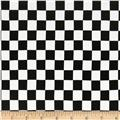 Double Brushed Poly Jersey Knit Plaid Checker Black