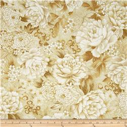 Oriental Traditions Metallic Flower Collage Natural