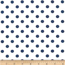 Stretch ITY Jersey Knit Small Dots White/Navy