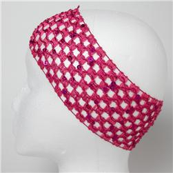 "2 3/4"" Sequin Stretch Crochet Headband Fuchsia"