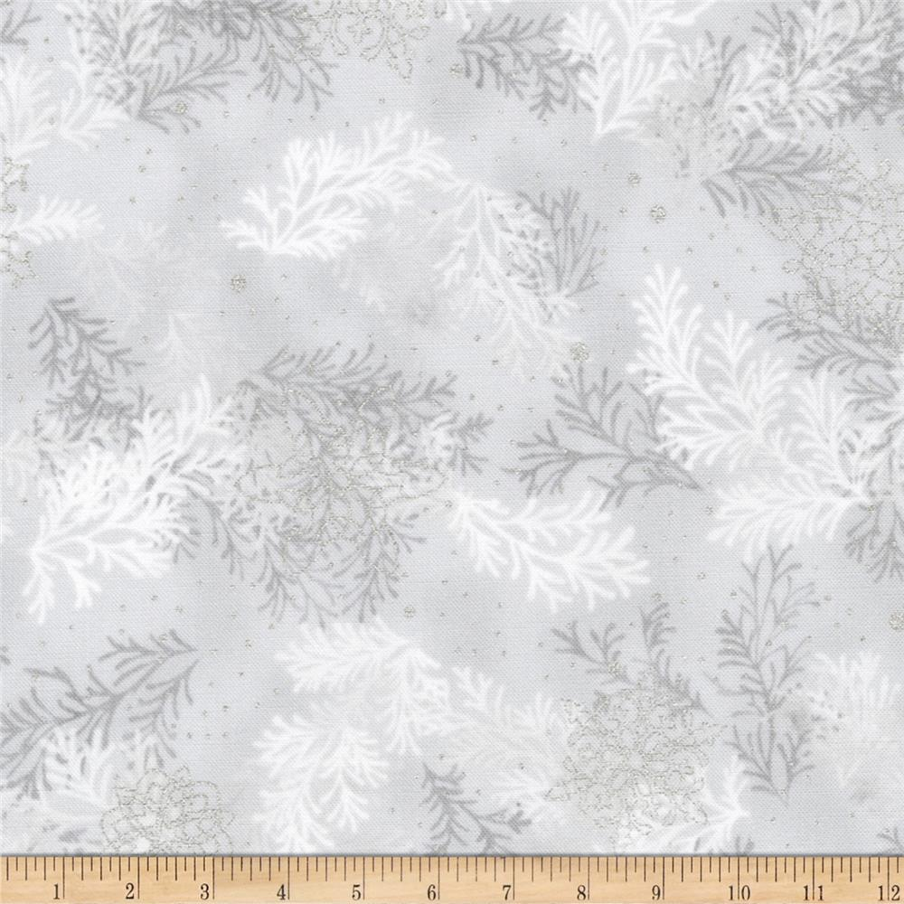 Kaufman Holiday Flourish Metallic Branches Silver Fabric