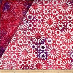 Indian Batik Double Face Quilted Flowers White