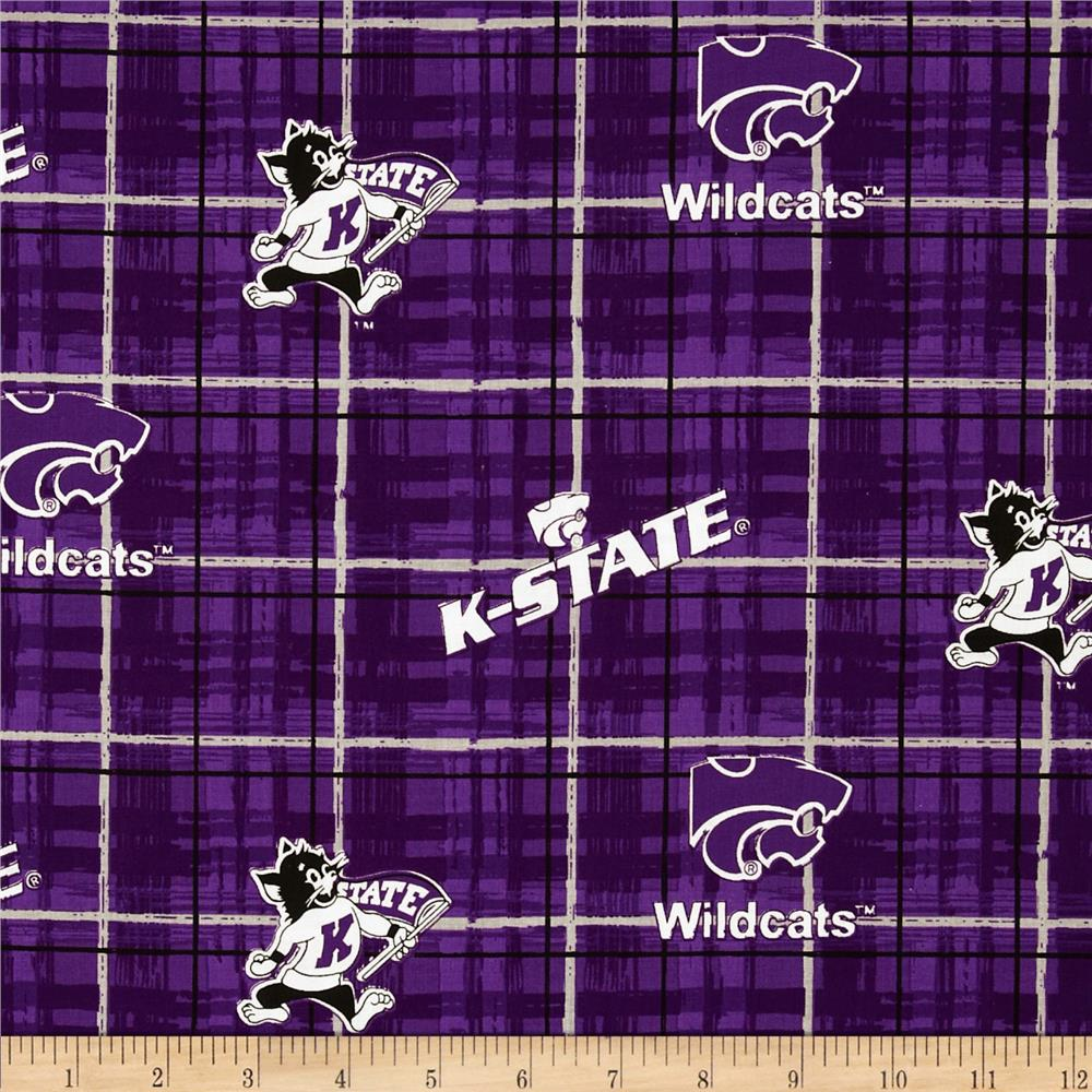 Kansas State University Collegiate Cotton Broadcloth Plaid Purple
