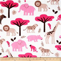 Minky Cuddle Jungle Tales Fuchsia Fabric