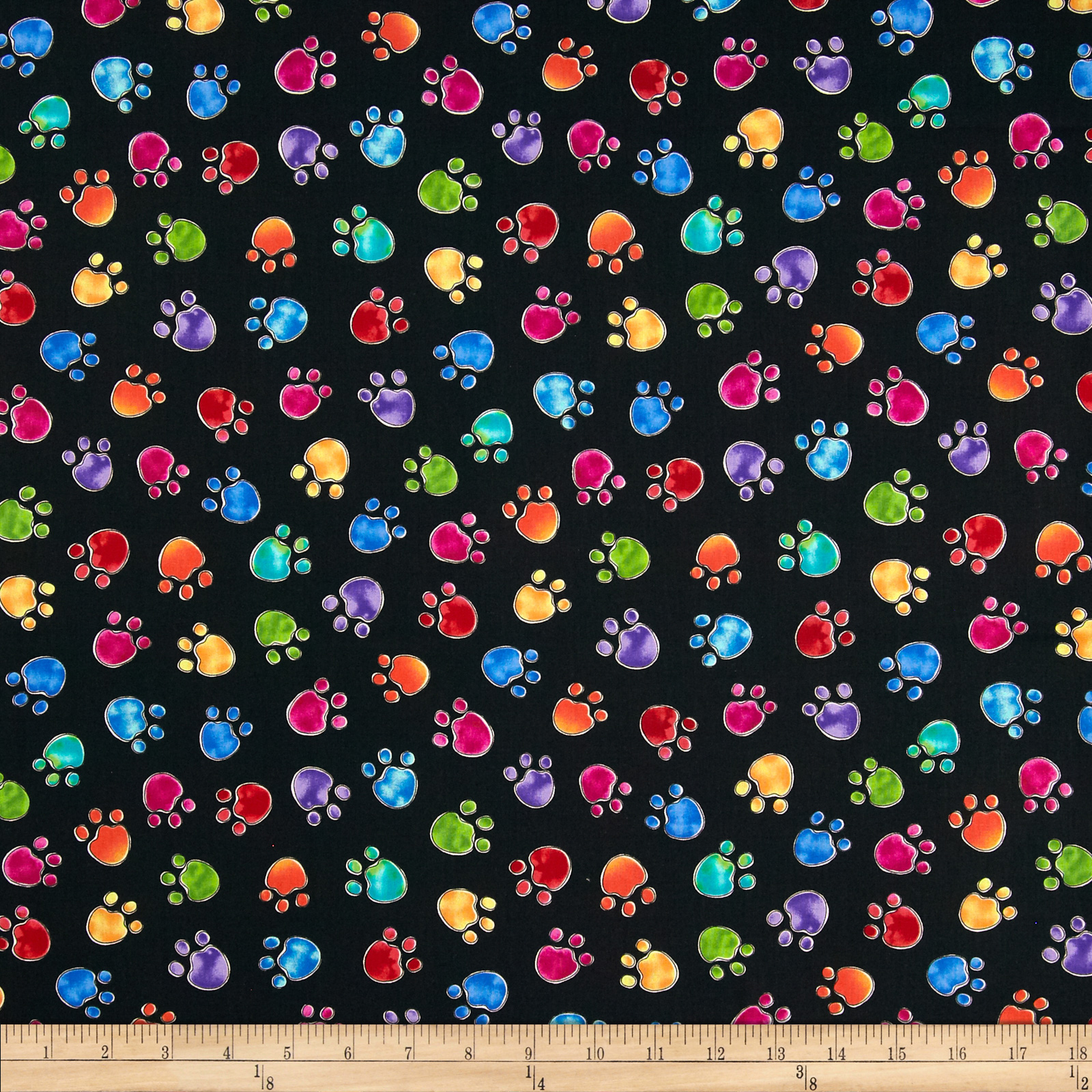 Timeless Treasures Cats Paws Black Fabric