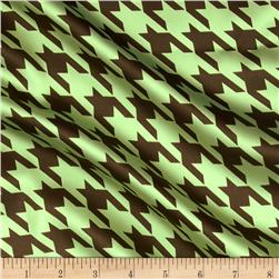 Satin Charmeuse Houndstooth Mint/Mocha
