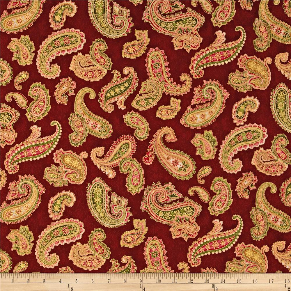 Holiday Flourish 6  Paisley Metallic Wineberry