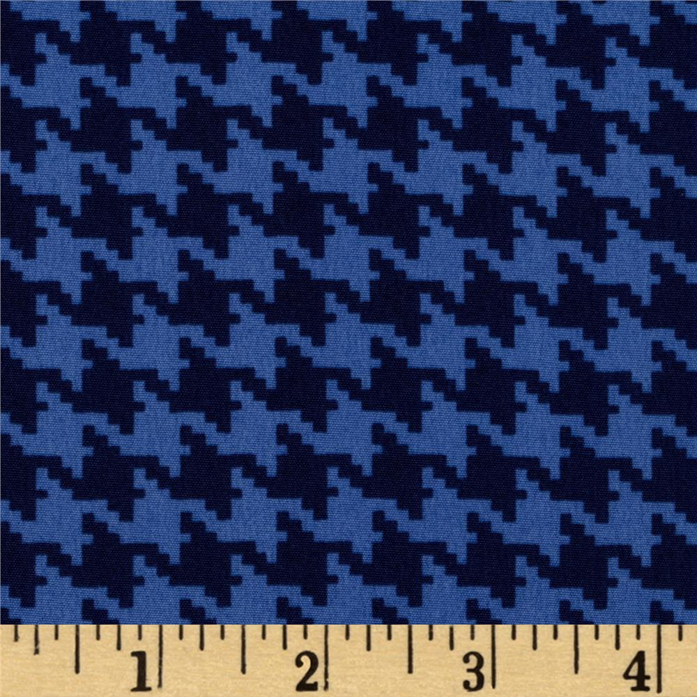 Koshibo Crepe de Chine Mini Houndstooth Blue/Navy