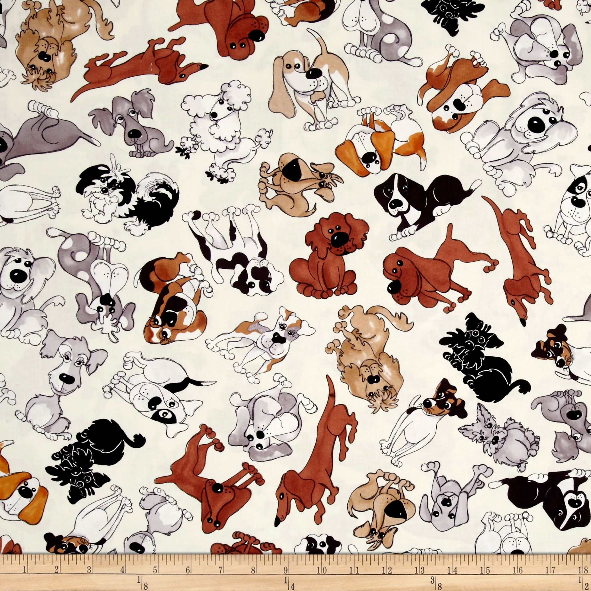 Loralie Designs Dear Doggie Delight Tossed Doggies Bone Fabric