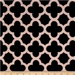 Stretch ITY Knit Quatrefoil Print Black/Khaki