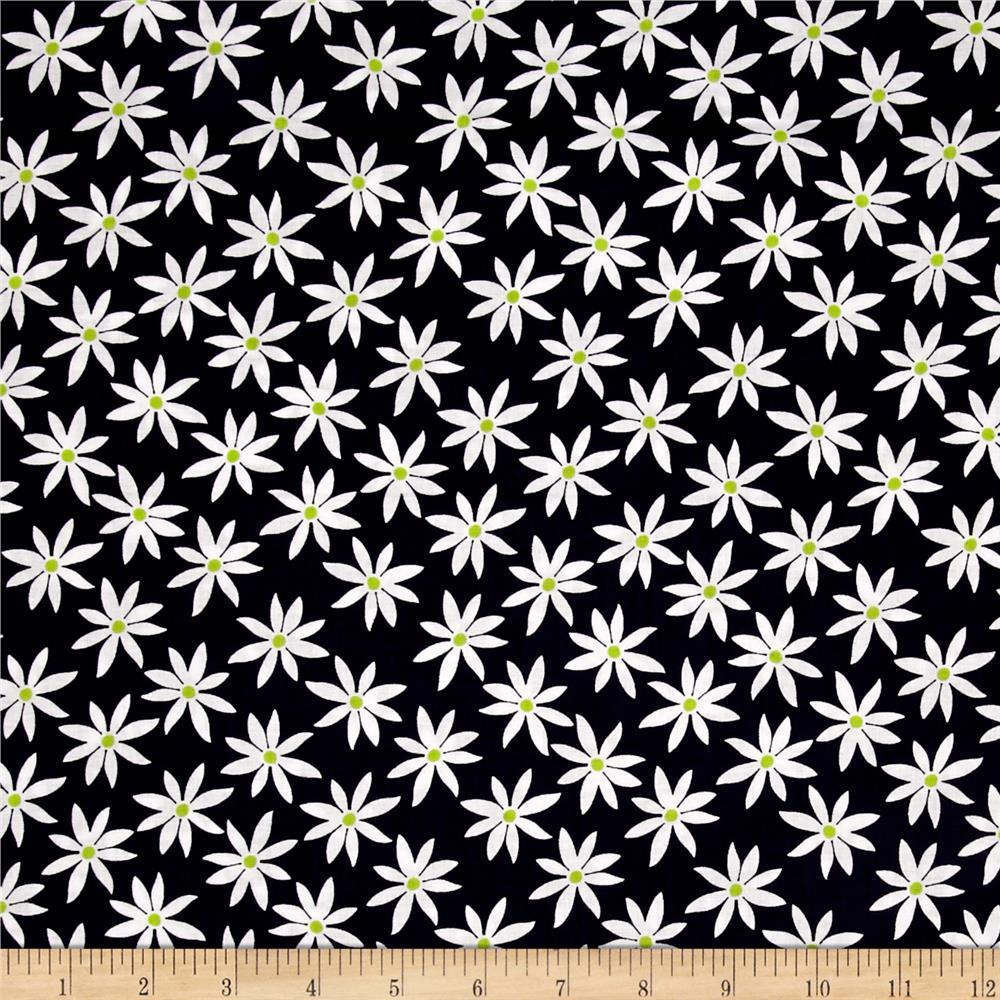 Kanvas Citron Twist Daisy Dot Navy Fabric By The Yard