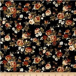 Corduroy Khaki/Ivory Roses on Black