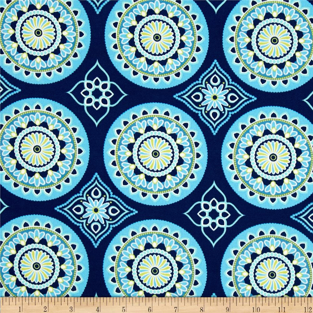 Discount outdoor fabric by the yard - Terrasol Indoor Outdoor Sundial Navy Discount Designer Fabric