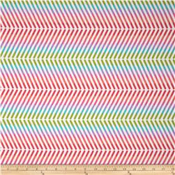 Pop Rox Stripe Chevron White Fabric