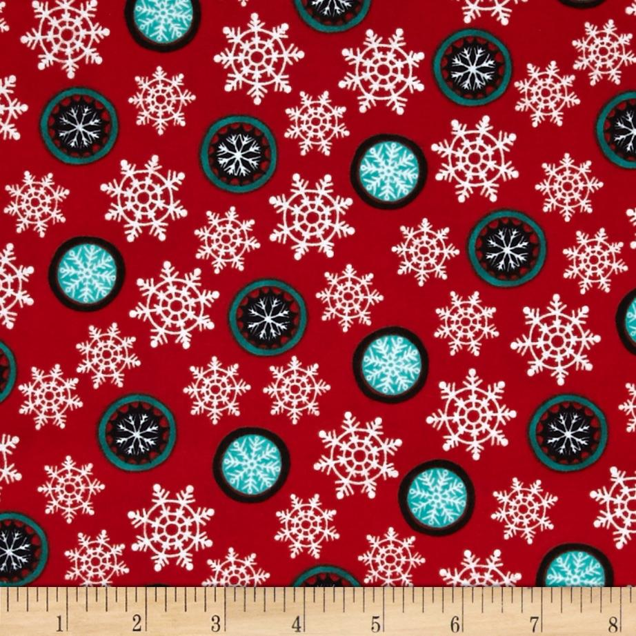 Hello Snow Flannel Snowflake Red