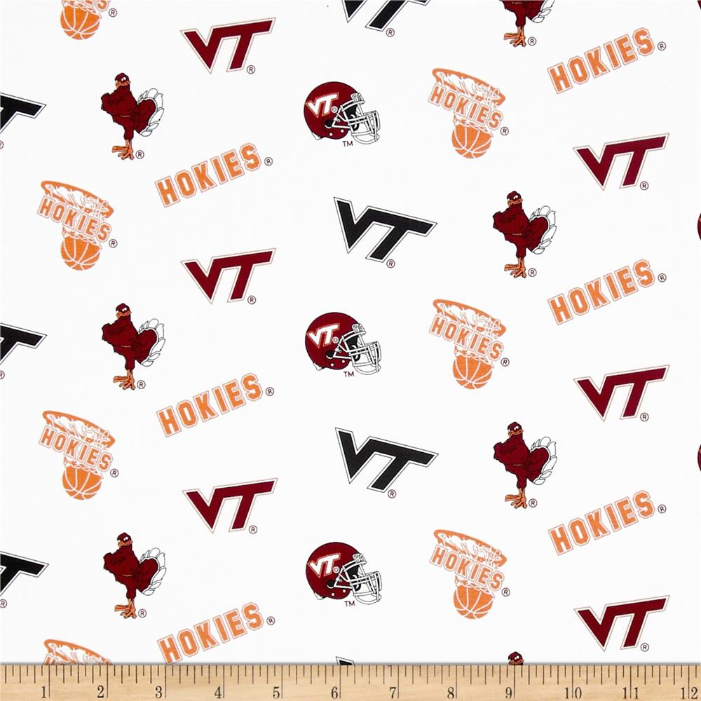 Collegiate Cotton Broadcloth Virginia Tech White