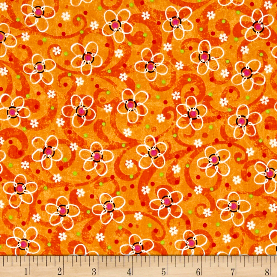 Pecking Order Stencil Flower Orange Fabric 0444877