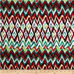 Bloom Stretch Cotton Sateen Watercolor Ikat Red/Green