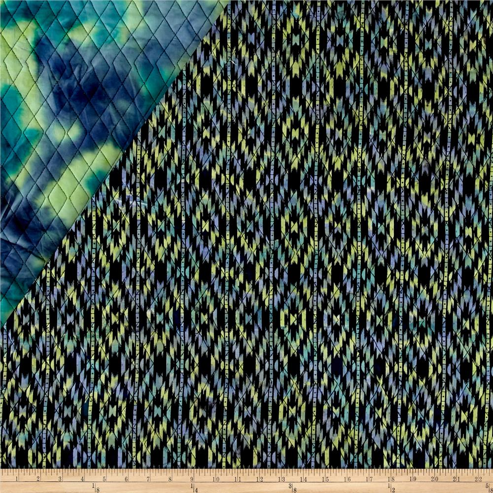 Indian Batik Double Face Quilted Medallion Blue Green