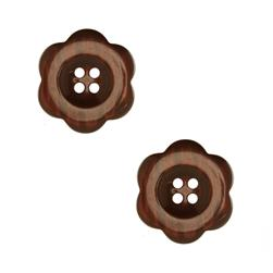 "Riley Blake Sew Together 2"" Flower Button Brown"