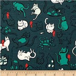Cotton + Steel Cat Lady Schmitties Dark Blue