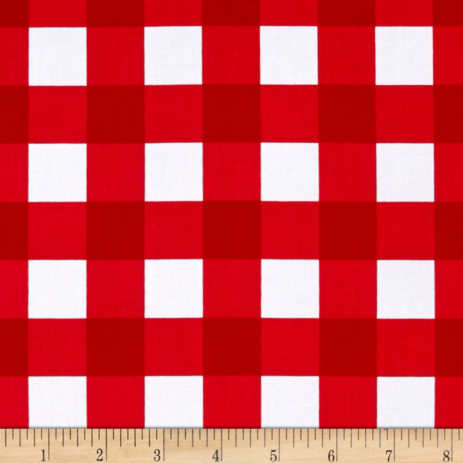 Riley Blake 1'' Gingham Red Fabric by Christensen in USA