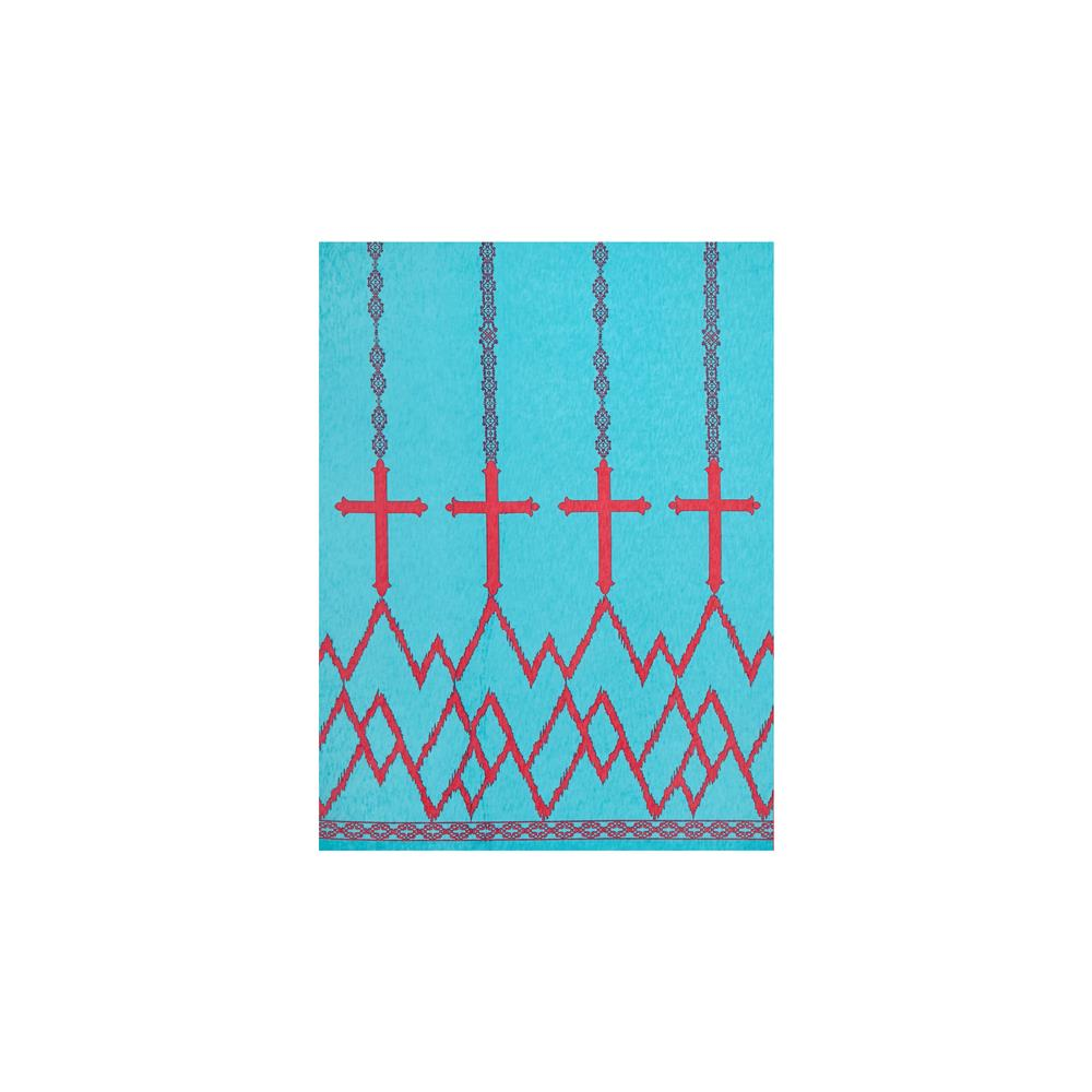 Stretch ITY Jersey Knit Cross Double Border Print Aqua/Hot Pink