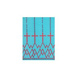 ITY Jersey Knit Cross Double Border Print Aqua/Hot Pink