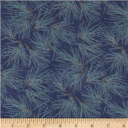 Moda Winter Forest Flannel Needles Indigo