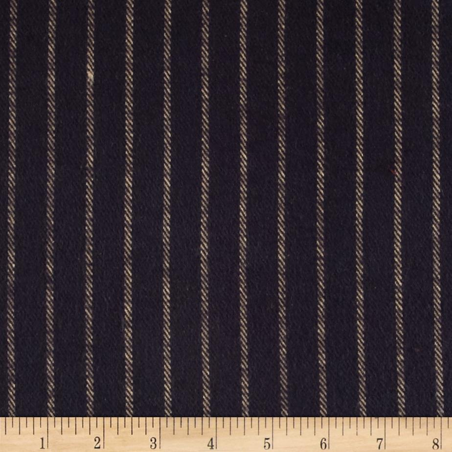 Primo Country Squire Flannel Stripe Navy Fabric By The Yard