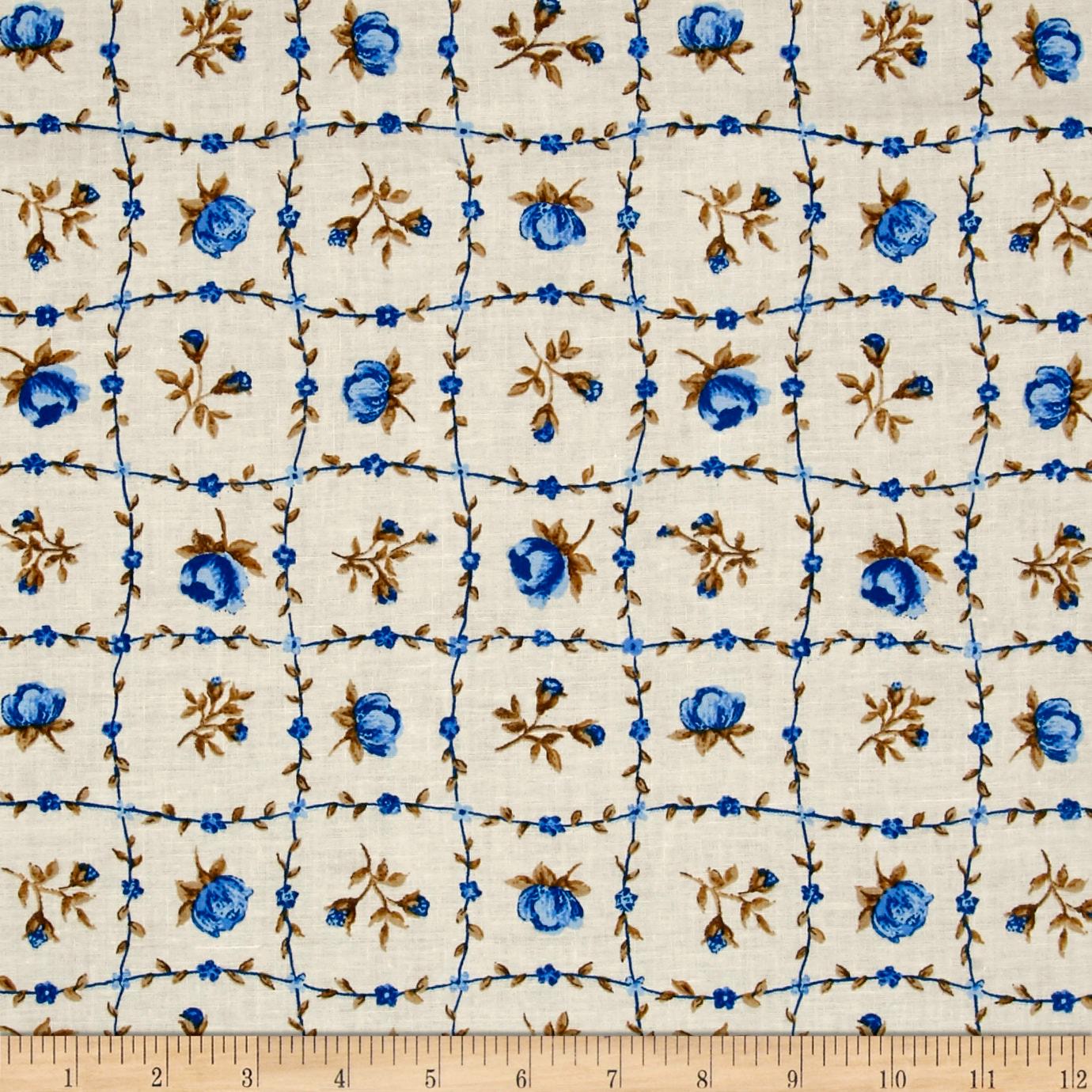 INOpets.com Anything for Pets Parents & Their Pets Botanical Garden Floral Blue Fabric