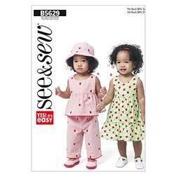 Butterick Infants' Top, Dress, Panties, Pants and Hat Pattern B5629 Size 0A0