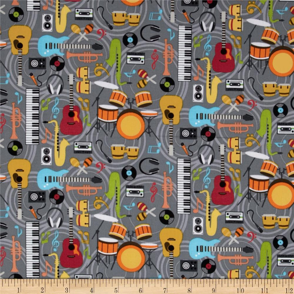 Music Notes Musical Instuments Grey