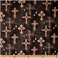 Michael Miller Ornate Crosses Black