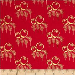 Timeless Treasures Charleston Metallic Art Deco Red