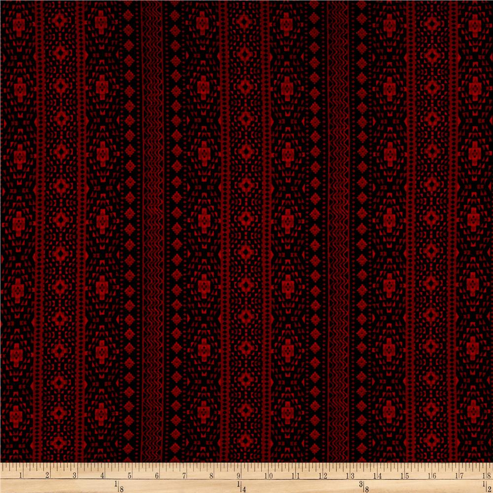 Simple Aztec Stripe Jersey Knit Cherry/Black Fabric By The Yard