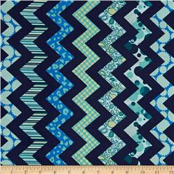 Chevron Chic Patterned Chevron Navy/Aqua Fabric