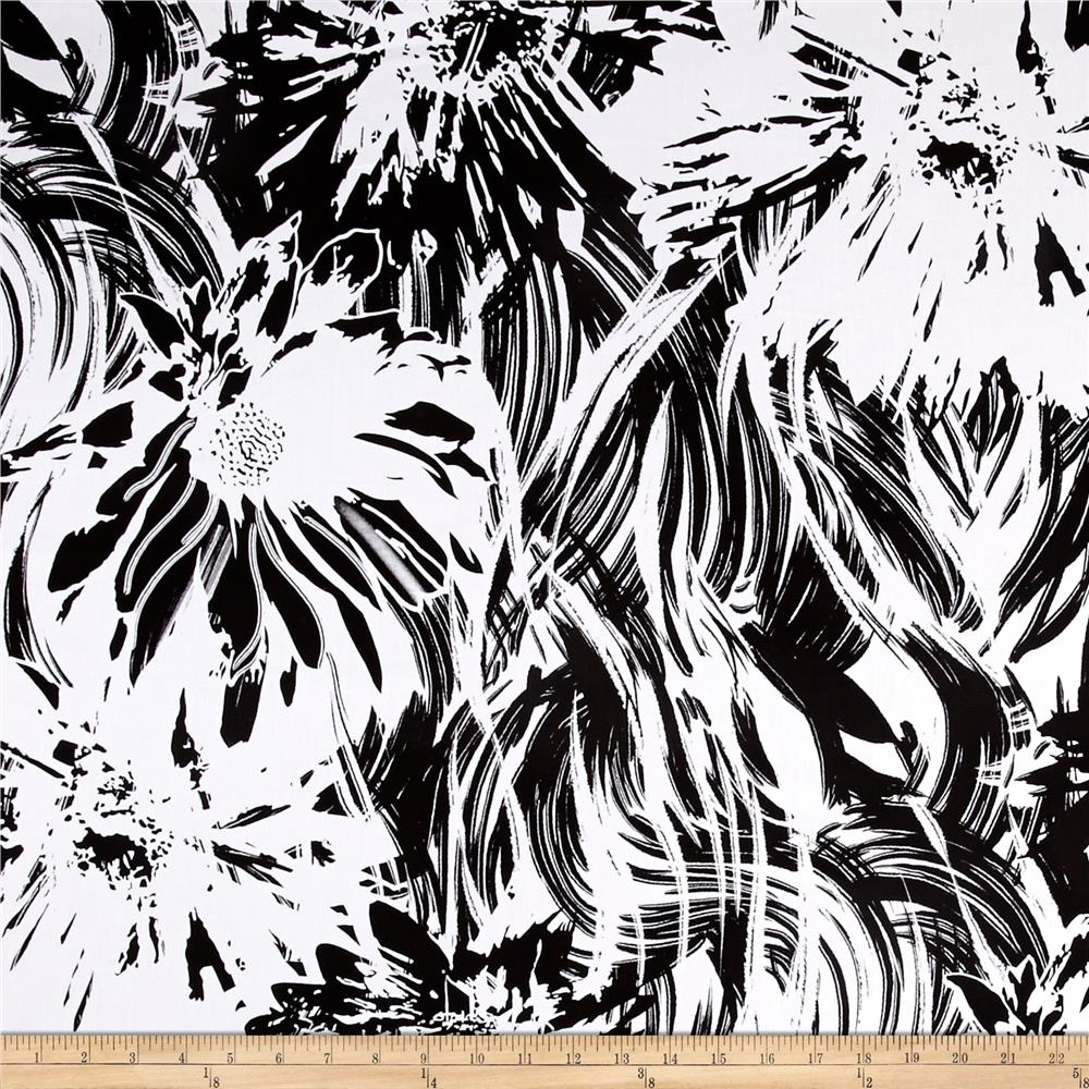 Graphic Floral Stretch Cotton Shirting Black/White