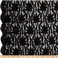 Glitter Embossed Lace Floral Small Black