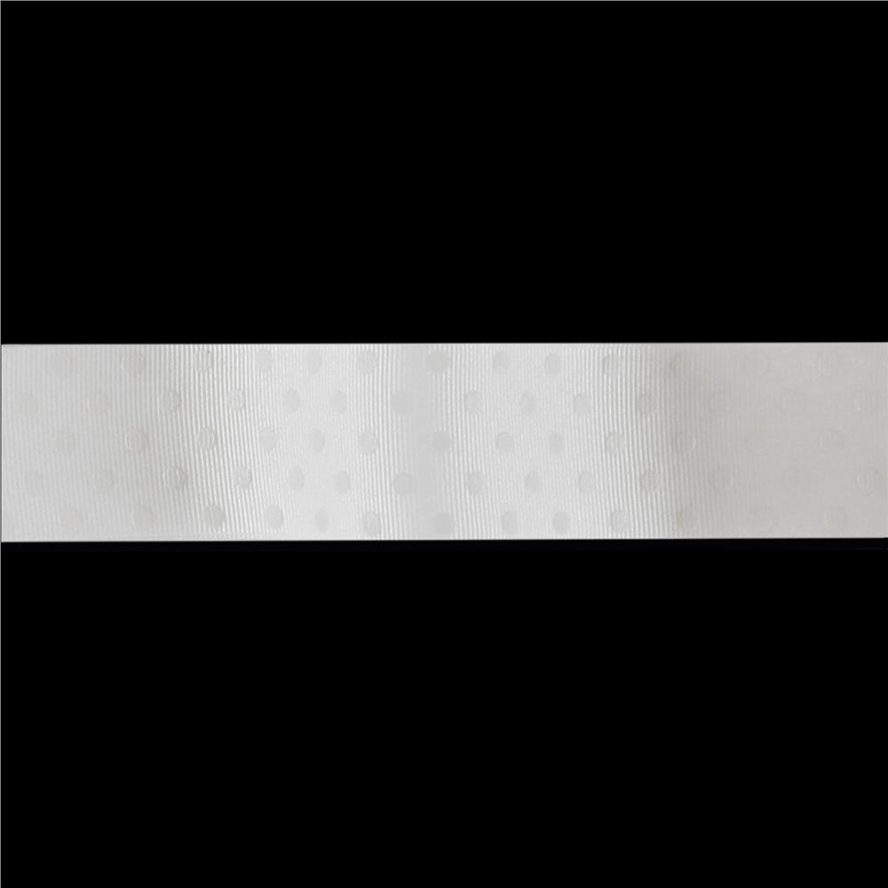 "May Arts 1 1/2"" Grosgrain Dots Ribbon Spool White on White"
