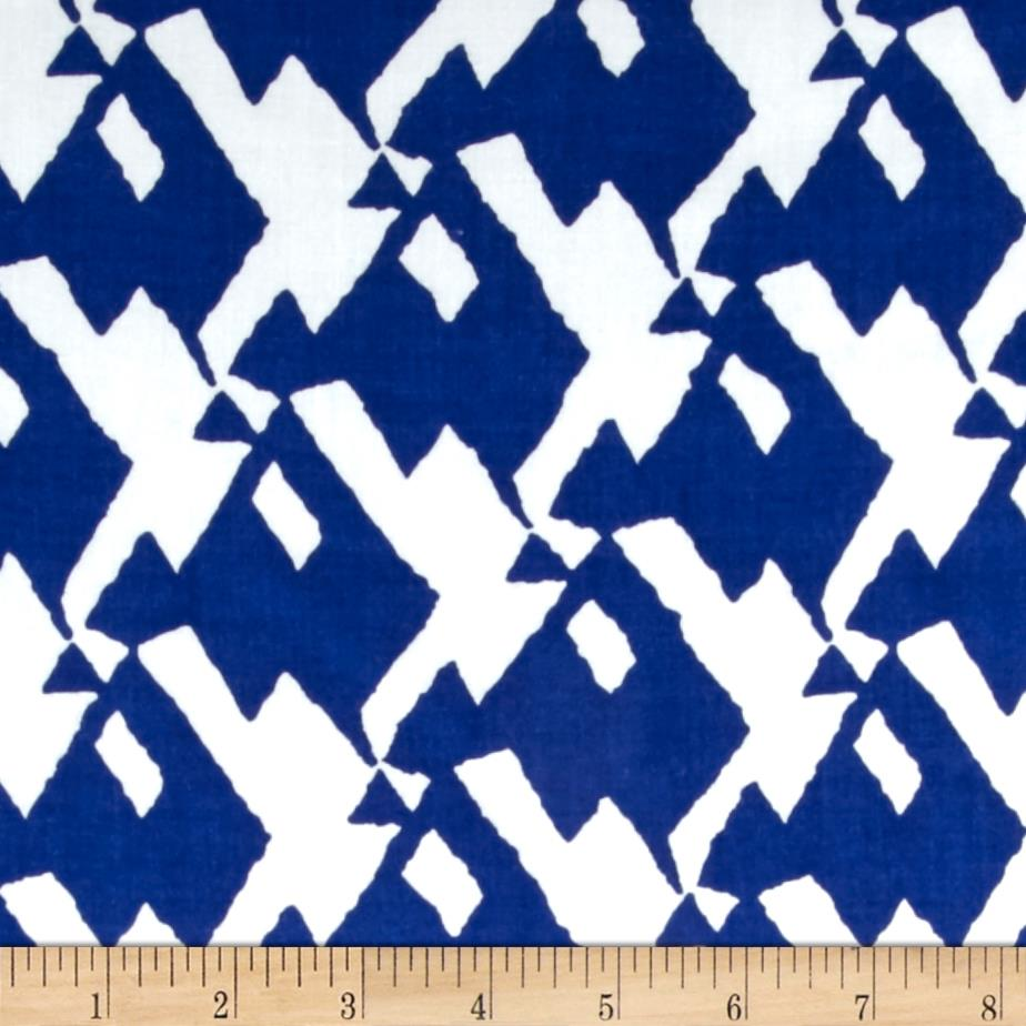 Rayon Challis Abstract Snake Royal/White
