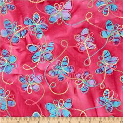 Embroidered Indian Batiks Butterfly Pink