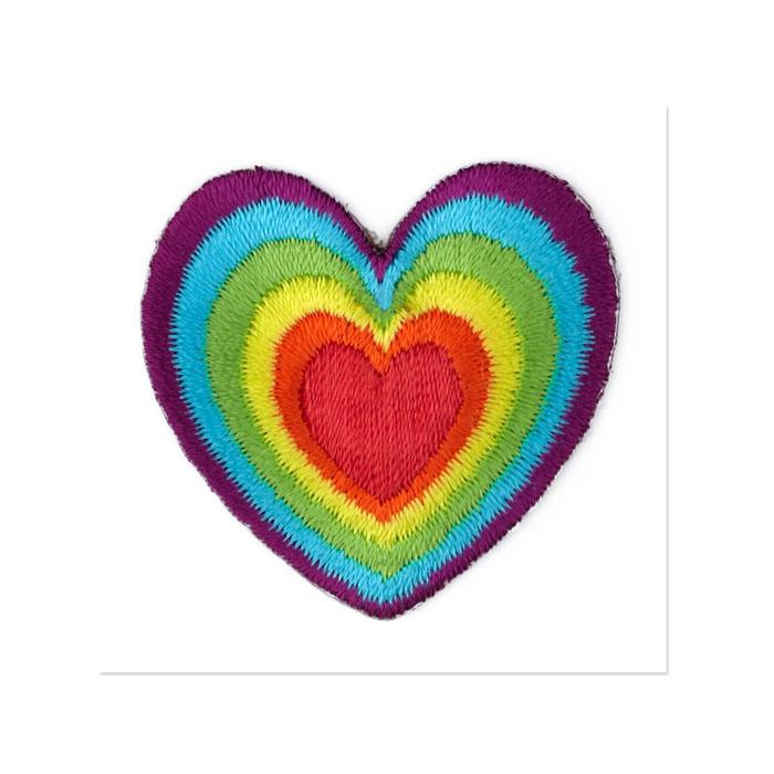 Boutique Applique Rainbow Heart Multi