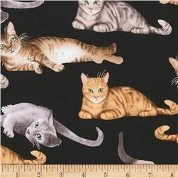 Timeless Treasures Relaxing Cats Black