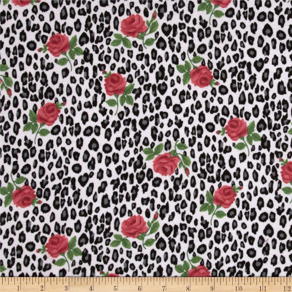 Comfy Flannel Leopard Roses Red