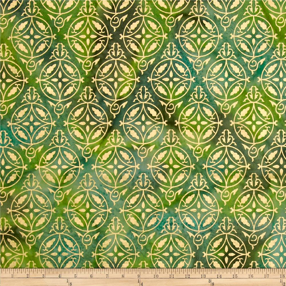 Indian Batik Montego Bay Metallic Medallion Green