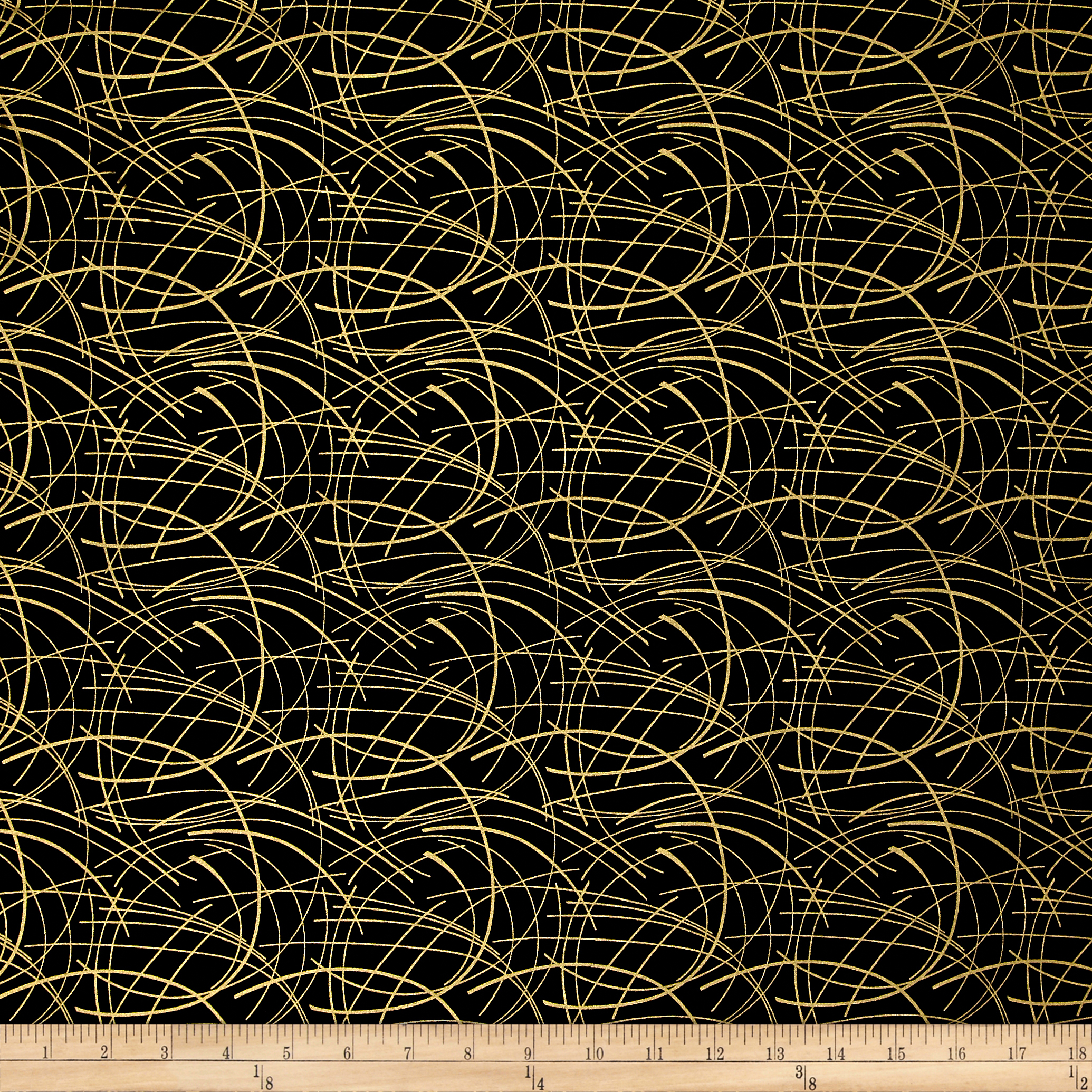 Butterfly Fandango Metallic Golden Spray Gold Arc Black Fabric