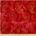 Indian Batik Paisley Red/Pink/Yellow