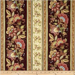 Valencia Metallic Jacobean Stripe Wine