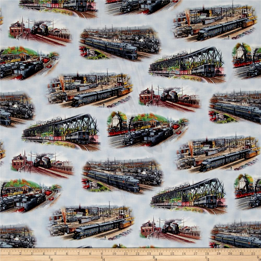 All aboard trains scenic blue discount designer fabric for Train print fabric